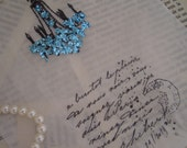 5 Glassine gift or favor bag - chandelier and french writing / french text - PARIS - blue glitter