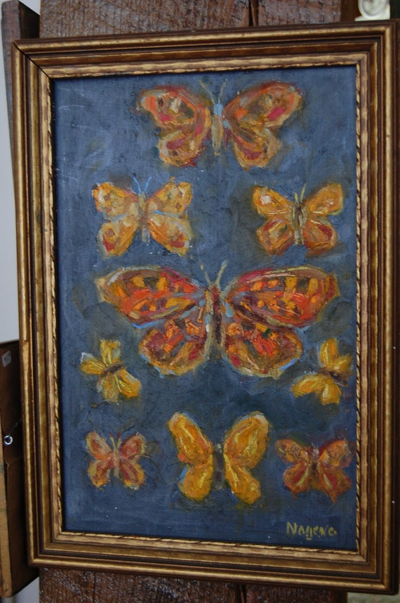 butterfly painting, original framed, checkered white