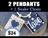 BUY THIS LISTING To Get 2 Pendants & 1 Snake Chain for 24 Dollars -Scrabble Tile Pendants