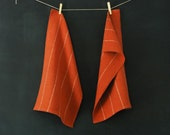 2 Handwoven Rust Colored Striped Tea Towels