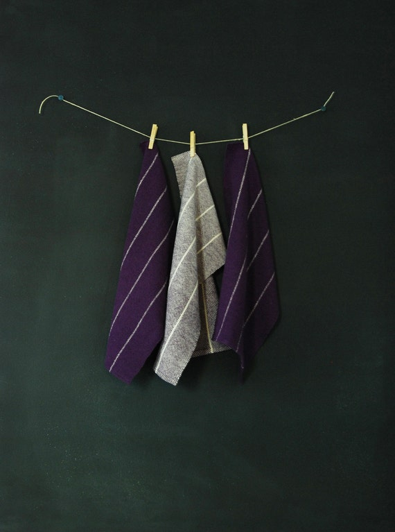 3 Handwoven Purple and Natural Striped Tea Towels
