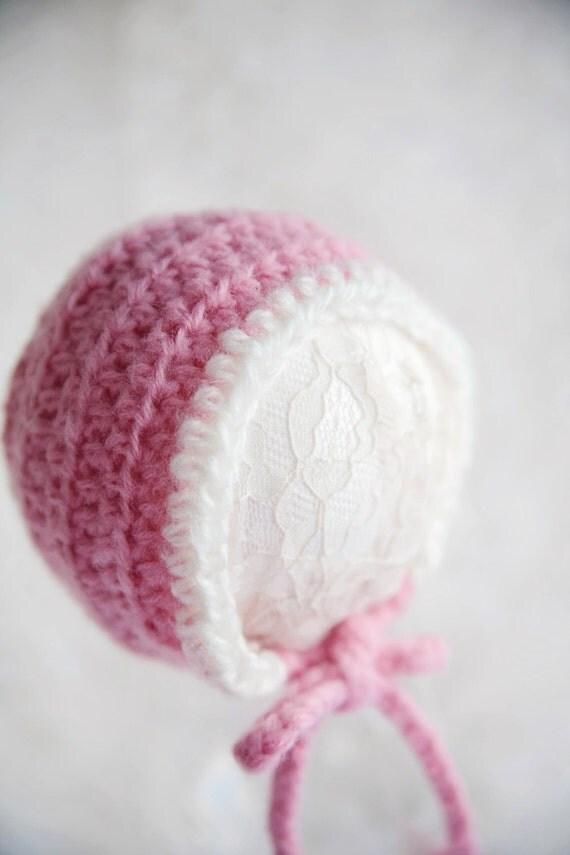 Pink and White Newborn Bonnet  SALE