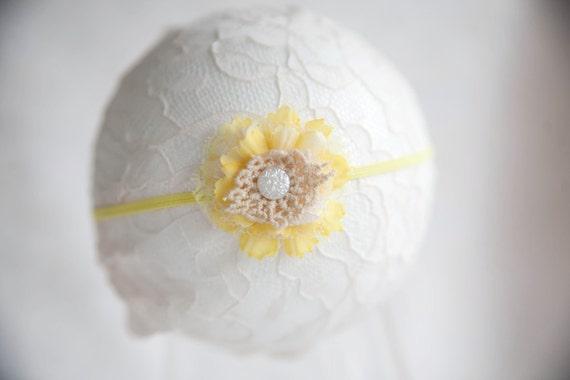 Yellow and Cream Lace Flower Newborn Headband