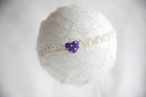 Purple Heart Newborn Headband