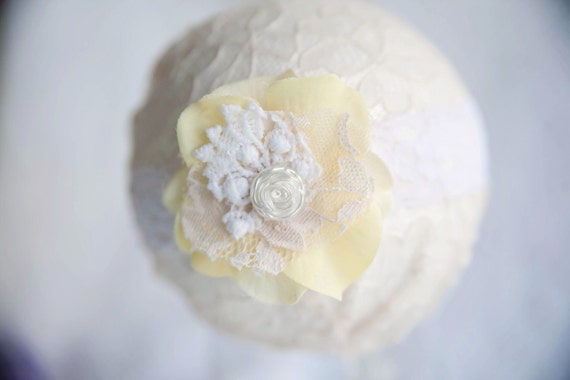 Yellow and White  Lace Flower Newborn Headband