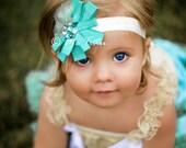 Gorgeous Vintage Shabby Chic Aqua Blue Ribbon Flower, rhinestones and feather Baby Child Girls Headband
