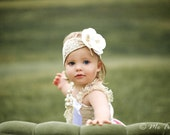 Vintage Shabby Chic Premium Wide Lace Flower Cream Headband Baby Child Girls