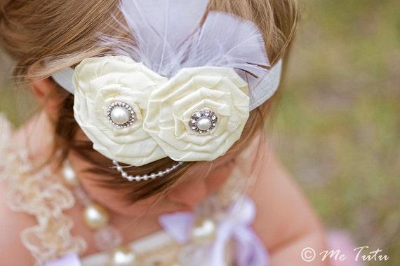 Vintage Shabby Chic Premium White/Ivory Satin Rosettes Feather and Pearl Baby Child Girls Headband