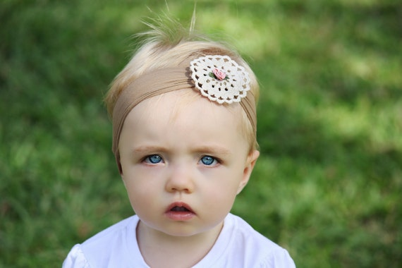 Gorgeous Vintage Shabby Chocolate and Tan Doily Baby Child Girls Headband