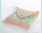 Tan Burlap CD Pouches (Set of 5) You Choose Band Colors