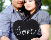 Two Large Chalkboard Heart Signs- Ready to Ship