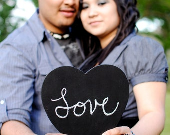 TWO Large Chalkboard Heart Signs- Photography Props