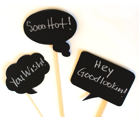 Chalkboard Speech Bubbles (set of 3- ready to ship) -  Photo Booth Props on a stick for your photo booth, party, or event