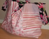 Pink and Blue Reversible Market Tote or Diaper Bag