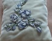 Silk Ribbon Embroidered Pearl Embellished Velvet pillow