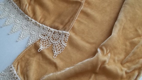 Tea Dyed Silk Velvet Scarf with Pearls and Lace