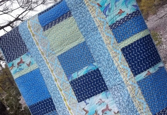 Lap Quilt of Sea Life in Many shades of Blue