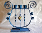 RESERVED FOR AGNES --- Blue Victorian Cameo Harp Candelabra