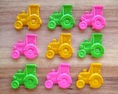 Girl Tractor Crayons - Set of 9 - Pink Green and Yellow Party Favor