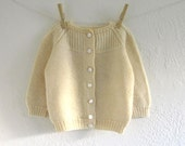 vintage baby girl buttercup hand knit cardigan (l)