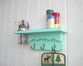 Wood wall vase shelf key hook shabby chic distressed wood