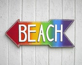 Wooden beach sign shabby chic coastal cottage distressed
