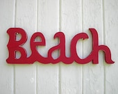 Wooden BEACH sign word red Shabby by Twigs2Whirligigs on Etsy