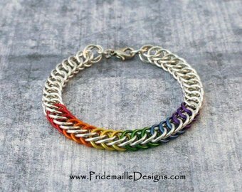 Rainbow Pride Bracelet with Silver Base color - Half Persian 4in1 - Aluminum Chainmaille Jewelry