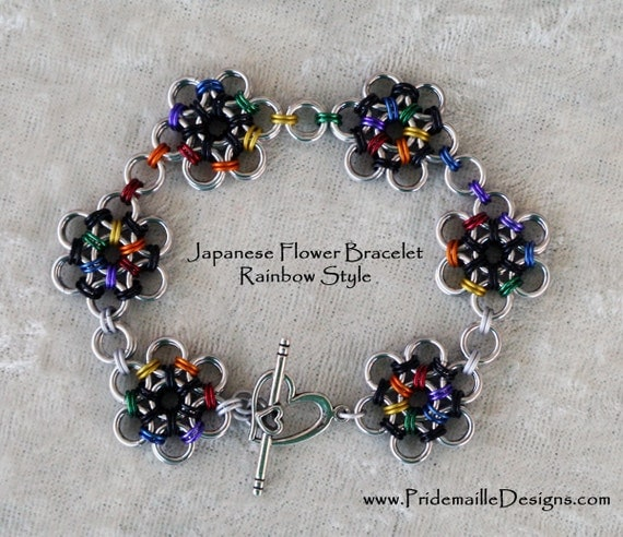 Rainbow Japanese Flower Bracelet - Anodized Aluminum - Sale 20% Off
