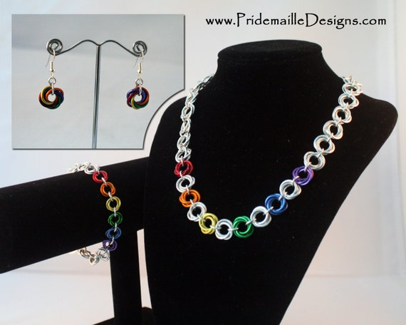Mobius Flower Set - Necklace Bracelet and Earring - Rainbow