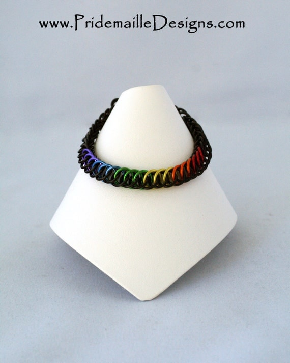 Rainbow Pride Bracelet with Black Base color - Half Persian 4in1 - Aluminum Chainmaille Jewelry