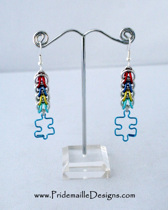 autism earrings with wire puzzle charm aluminum