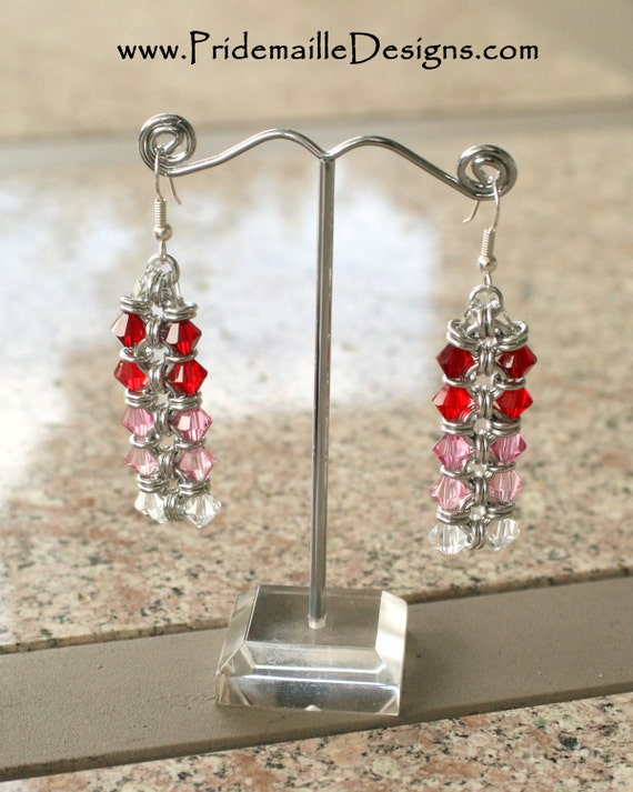 Red Pink Crystal Chain Earrings - Chainmaille Swarovski Crystal