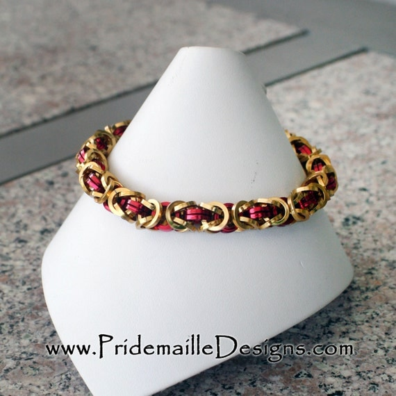 Square Wire Byzantine Bracelet - Red and Gold Rings