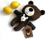 Handmade rag doll toy teddy bear softie plush plushie toddler child friendly dark chocolate brown corduroy 25 cm 9,8 inch