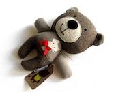 Teddy bear rag doll toy handmade cute plushie softie toddler child safe friendly brown corduroy 25 cm 9,8 inch