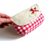 Purse pouch cosmetic make up bag wallet clutch gray grey red white checked bow