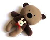Teddy bear plushie handmade rag doll toy gift idea plush soft softie toddler child safe brown 25 cm 9,8 inch