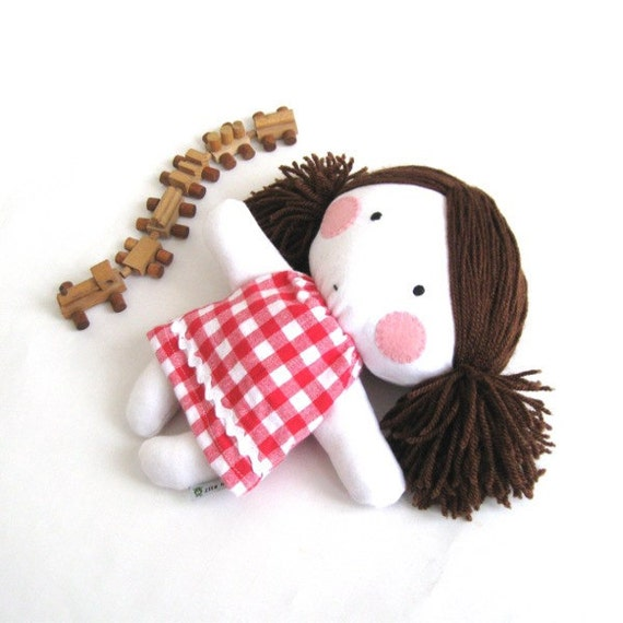 Rag doll toy baby girl kid kids handmade cuddly plushie child friendly safe white red checked dress clothes 11 inch