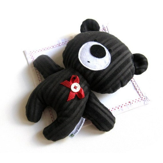 Stuffed animal teddy bear rag doll toy handmade softie plush plushie toddler child friendly dark chocolate brown 25 cm 9,8 inch