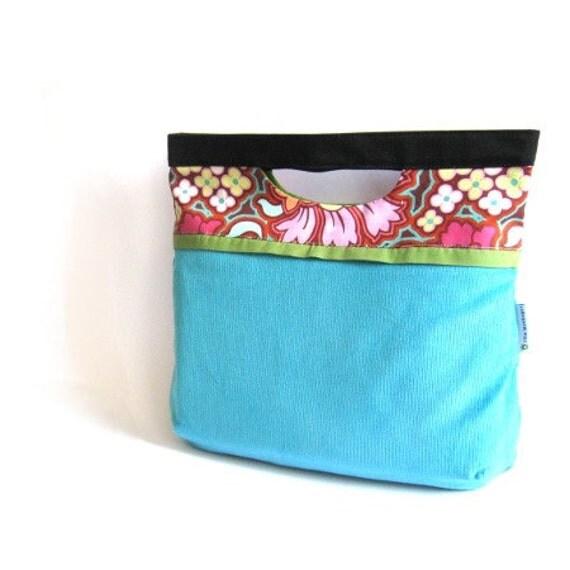 Handbag clutch foldover fold over turquoise light blue Amy Butler floral flower