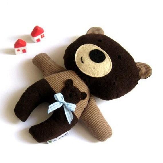 "Teddy bear plushie handmade rag doll toy gift idea plush soft softie toddler child safe brown 25 cm 9.8"""