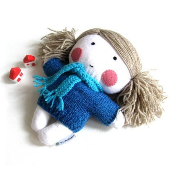 Rag doll toy baby girl girlie plushie softie white turquoise blue hand knitted dress sweater scarf cuddly soft child friendly 10 inch 25 cm