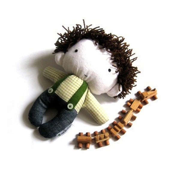"Rag doll boy stuffed toy plushie softie softies handmade doll toy stuffed puppet baby boy kid white green navy blue denim jeans 11"" 27 cm"