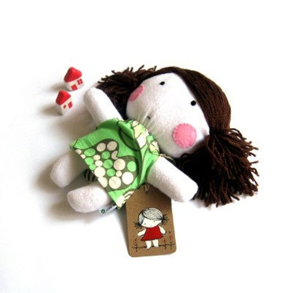 "Rag doll toy plushie puppet softie handmade girl kid white green floral Amy Butler dress clothes 11"" 27 cm"