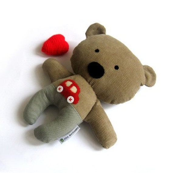 Teddy bear stuffed animal plushie softie rag doll toy brown olive green little red car 25 cm 9.8""