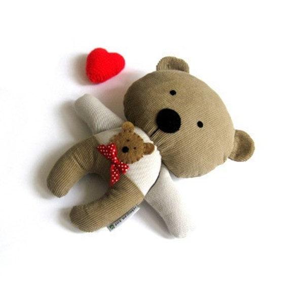 """Teddy bear soft toy rag doll stuffed animal plushie softie brown beige 25 cm 9.8"""""""