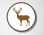 Counted Cross stitch Pattern PDF. Instant download. Deer Silhouette. Includes easy beginner instructions.