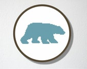 Counted Cross stitch Pattern PDF. Instant download. Polar Bear Silhouette. Includes easy beginner instructions.