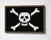 Pirate Jolly Roger. Counted Cross stitch Pattern PDF. Instant download. Includes beginners instructions.